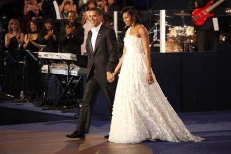 President Obama and Michelle Obama on inaugural night in 2009. She wore a Jason Wu-designed gown.